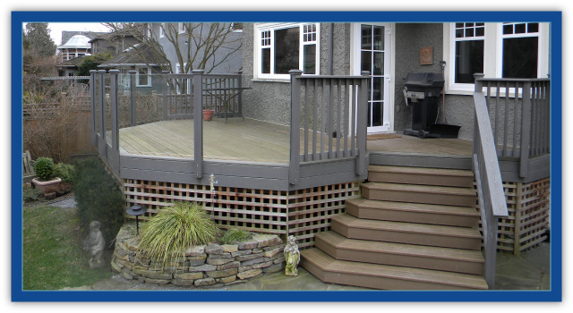 light tan stairs and deck of trex