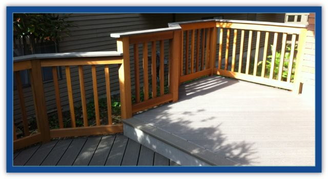 cedar railings bordering a deck