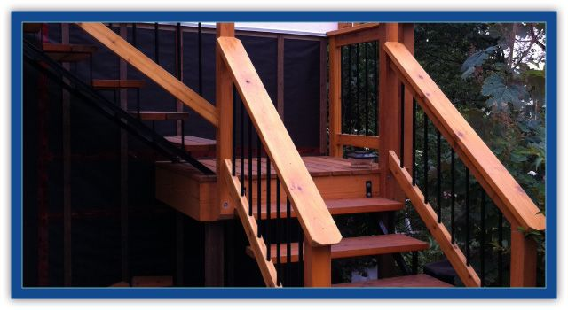 cedar railings on stairs
